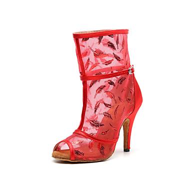baratos Shall We® Sapatos de Dança-Mulheres Com Transparência Botas de Dança Recortes Salto Salto Alto Magro Personalizável Camel / Vermelho