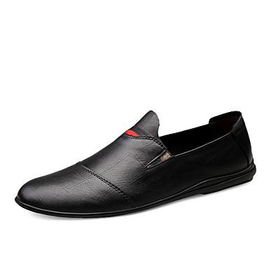 Муж. Кожаные ботинки Наппа Leather Весна лето / Наступила зима На каждый день / Английский Мокасины и Свитер Для прогулок Нескользкий Черный / Белый / Офис и карьера / Обувь для вождения