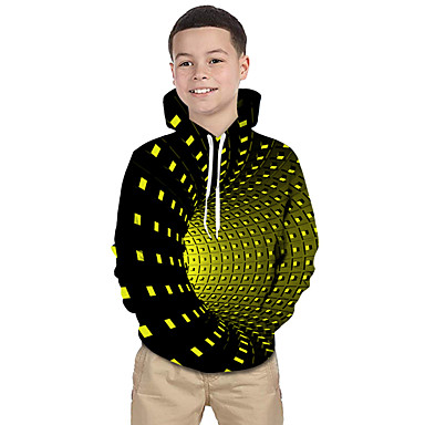 cheap Boys' Hoodies & Sweatshirts-Kids Toddler Boys' Active Basic Rubik's Cube Geometric Galaxy Print Print Long Sleeve Hoodie & Sweatshirt Black