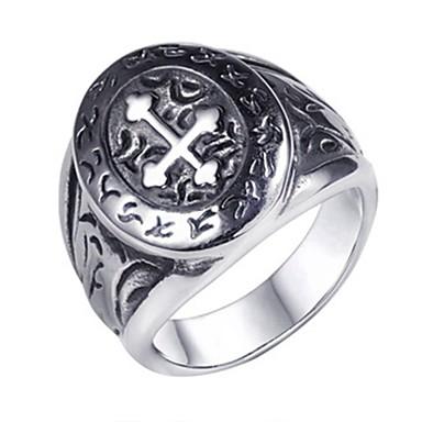 voordelige Dames Sieraden-Heren Bandring Ring Staartring 1pc Zilver Titanium Staal Cirkelvormig Standaard Modieus Lahja Dagelijks Sieraden Kruis Cool