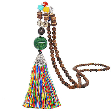 abordables Collier-Collier Pendentif Colliers Fantaisie Collier Y Cravate Femme Perles Bois Séries de totem Forme U simple Classique Européen Tendance Mode Mignon Mariage Noir Vert foncé Vert clair Jaune Rouge Bordeaux