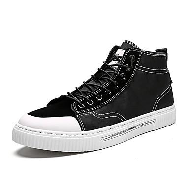 Erkek Ayakkabı Kanvas / PU Yaz / Sonbahar Sportif / Günlük Spor Ayakkabısı Koşu / Yürüyüş Günlük / Dış mekan için Siyah / Beyaz