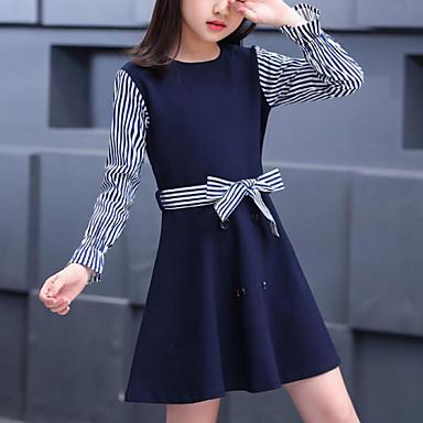 baratos Vestidos para Meninas-Infantil Para Meninas Estilo bonito Moda de Rua Listrado Retalhos Patchwork Manga Longa Vestido Azul Marinha