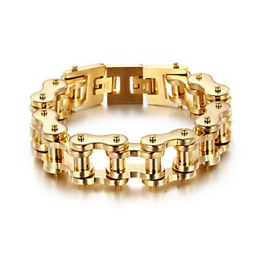 voordelige Herensieraden-Heren Dames Goud Armband Schakelketting Fietsen Punk Roestvast staal Armband sieraden Goud Voor Feest Lahja Dagelijks Straat Club