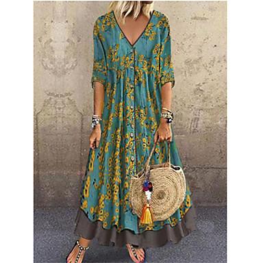 voordelige Nieuwe collectie-Dames Elegant A-lijn Jurk - Bloemen, Pailletten Print Diepe V-hals Maxi