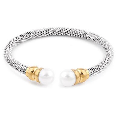 abordables Bracelet-Manchettes Bracelets Femme Tressé résine Blanc Acier au titane Tissage Elégant Bracelet Bijoux Argent Forme C pour Quotidien Festival