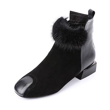 voordelige Dameslaarzen-Dames Laarzen Blokhak Ronde Teen Imitatiebont Herfst winter Zwart