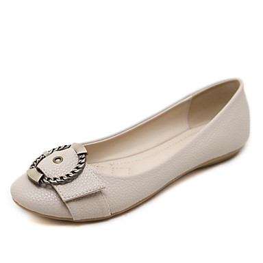 Kadın's Düz Ayakkabılar Düz Taban Yuvarlak Uçlu Toka Suni Deri Tatlı / Minimalizm İlkbahar & Kış Badem / Mavi