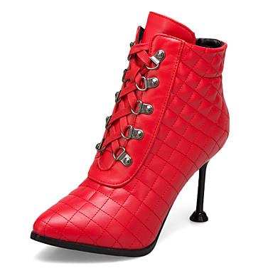 voordelige Dameslaarzen-Dames Laarzen Naaldhak Gepuntte Teen PU Korte laarsjes / Enkellaarsjes Klassiek Herfst winter Zwart / Rood / Beige / Bruiloft