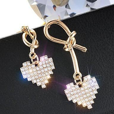Kadın's Eşleşmeyen Küpeler Uyumsuz Kalp Simüle Elmas Küpeler Mücevher Altın Uyumluluk Günlük 1 çift