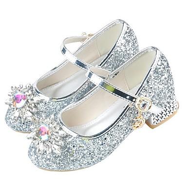 baratos Sapatos de Criança-Para Meninas Couro Ecológico Saltos Little Kids (4-7 anos) Sapatos para Daminhas de Honra Cristais Rosa claro / Prateado Verão