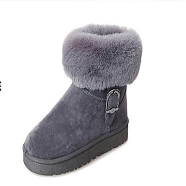 voordelige Dameslaarzen-Dames Laarzen Platte hak Ronde Teen Polyester Kuitlaarzen Informeel Wandelen Lente / Herfst winter Zwart / Bruin / Grijs