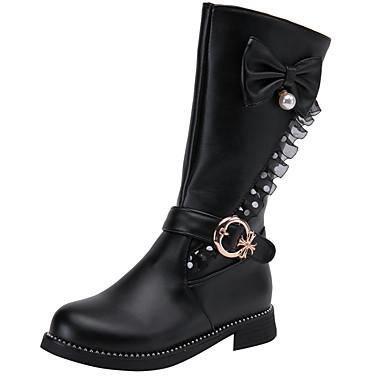 baratos Sapatos de Criança-Para Meninas Couro Ecológico Botas Big Kids (7 anos +) Sapatos para Daminhas de Honra Laço / Pérolas / Rendado Preto / Branco / Vermelho Inverno / Botas Cano Médio