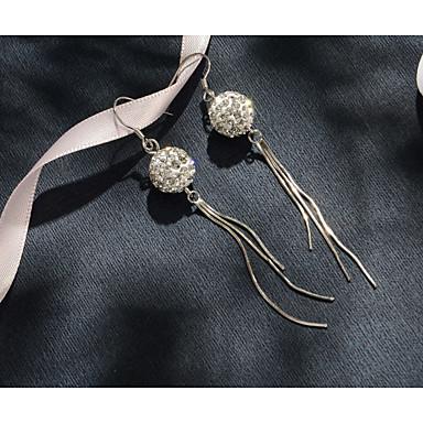 baratos Bijuteria de Mulher-100% 925 prata flash zircon lady brincos compridos brincos bola de cristal le2601300