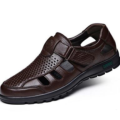baratos Super Ofertas-Homens Sapatos Confortáveis Couro Ecológico Verão Sandálias Respirável Preto / Marron