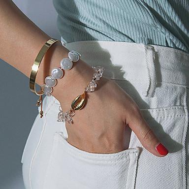 baratos Bangle-3pçs Mulheres Bracelete Pulseiras com Miçangas Pulseira Clássico Precioso Concha Luxo Na moda Doce Fashion Pérola Pulseira de jóias Dourado Para Presente Diário Escola Feriado Trabalho