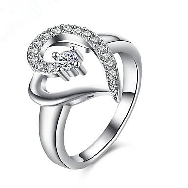 billige Motering-Dame Ring Kubisk Zirkonium 1pc Sølv Titanium Stål / Gullbelagt Geometrisk Form Stilfull Gave / Daglig Kostyme smykker / Hjerte