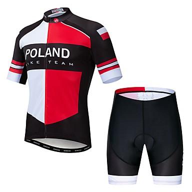 WEIMOSTAR Polonya Ulusal Bayrak Erkek Kısa Kollu Şortlu Bisiklet Forması - Kırmızı / Beyaz Bisiklet Giysi Takımları Nefes Alabilir Hızlı Kuruma Spor Dalları Elastane Terylene Dağ Bisikletçiliği Yol