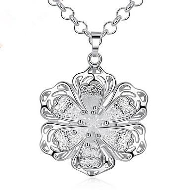 abordables Collier-Collier Pendentif Femme Géométrique Zircon Fleur Mode Adorable Argent 45+5 cm Colliers Tendance Bijoux 1pc pour Quotidien Travail Forme Géométrique