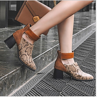 Women's Boots Flat Heel Pointed Toe Buckle PU(Polyurethane) Booties / Ankle Boots Summer Black / Brown