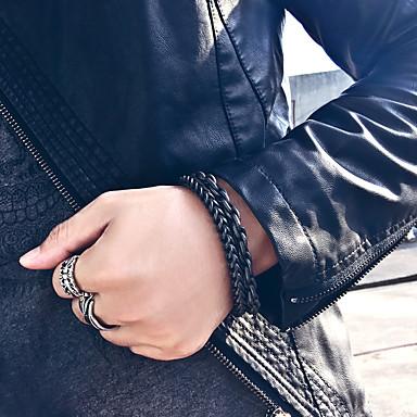 voordelige Herensieraden-Heren Dames Vintage Armbanden Armband Schakelarmband Sculptuur Kostbaar Statement Uniek ontwerp Barok modieus Gothic Titanium Staal Armband sieraden Zwart Voor Lahja Dagelijks Carnaval Straat Club