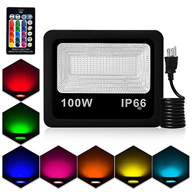 abordables Éclairage Extérieur-1pc 100 W Projecteurs LED Imperméable / Télécommandé / Intensité Réglable RVB 85-265 V Cour / Jardin 180 Perles LED