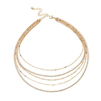 billige Mote Halskjede-Dame Choker Halskjede Klassisk Chrome Gull 40 cm Halskjeder Smykker 1pc Til Daglig