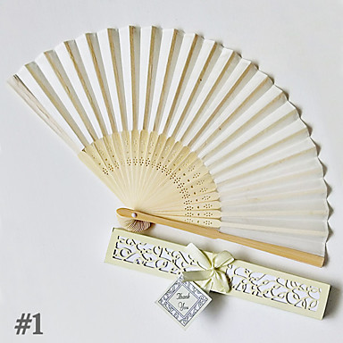 billige Vifter og parasoller-4stk ensfarvet bambus foldet hånd fans bryllup favoriserer bryllup forsyninger gave 22 cm lang