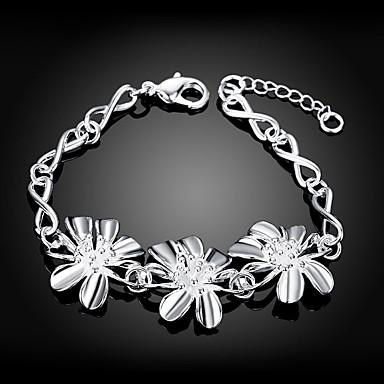 abordables Bracelet-Bracelet Femme Géométrique Zircon Fleur Elégant Bracelet Bijoux Argent Forme Géométrique pour Quotidien Travail