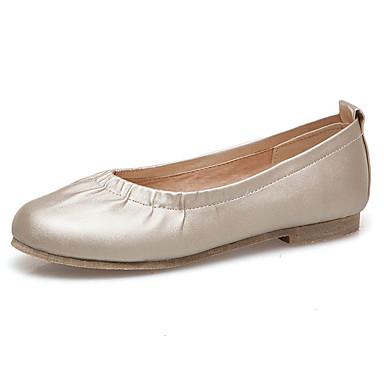 Kadın's Mokasen & Bağcıksız Ayakkabılar Düz Taban Yuvarlak Uçlu PU Tatlı İlkbahar yaz Siyah / Beyaz / Altın