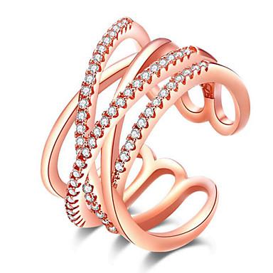 voordelige Dames Sieraden-Dames Open Ring Kubieke Zirkonia 1pc Zilver Goud Rose Verguld Legering C-vorm Stijlvol Feest Dagelijks Sieraden Ster Schattig
