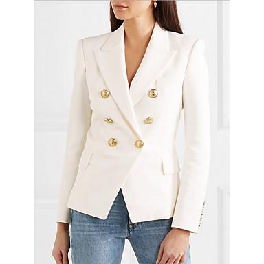 voordelige Nieuwe collectie-Dames Blazer Puntige revers Polyester Wit / Slank