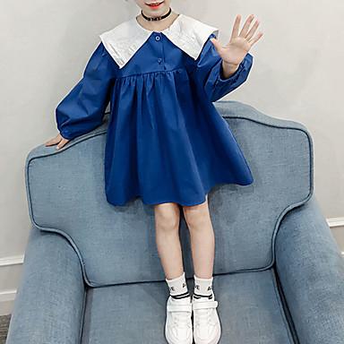 baratos Vestidos para Meninas-Infantil Bébé Para Meninas Estilo bonito Moda de Rua Sólido Manga Longa Acima do Joelho Vestido Laranja