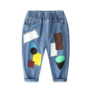 baratos Jeans Para Meninos-Infantil Para Meninos Básico Moda de Rua Retalhos Estampado Jeans Azul