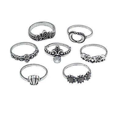 billige Motering-Dame Ring Set 7pcs Gull / Sølv Legering Stilfull / Unikt design / Mote Gave / Daglig / Gate Kostyme smykker / Elefant / Sol / MOON