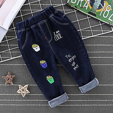 baratos Jeans Para Meninos-Infantil Para Meninos Básico Punk & Góticas Estampado Estampado Jeans Azul