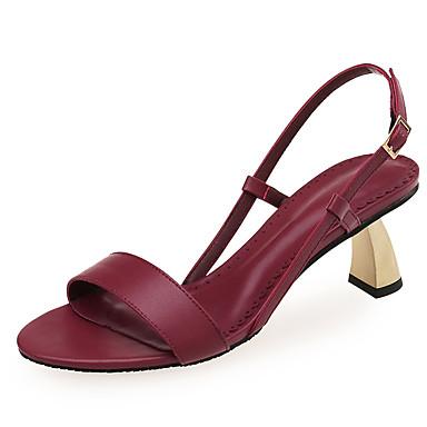 voordelige Damessandalen-Dames Sandalen Heterotypic Heel Open teen Canvas / Imitatieleer minimalisme Zomer Zwart / Amandel / Bordeaux