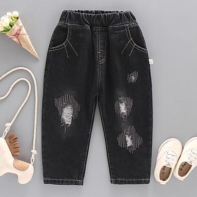 tanie Jeansy dla chłopców-Dzieci Dla chłopców Aktywny Moda miejska Solidne kolory Otwór Podarte Jeansy Czarny