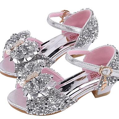 baratos Sapatos de Criança-Para Meninas Sintéticos Sandálias Little Kids (4-7 anos) Conforto Pedrarias Prata / Rosa claro Verão