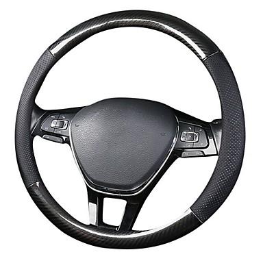 voordelige Auto-interieur accessoires-38 cm auto stuurhoes 38 cm lederen carbon auto stuurhoes zwart auto stuurhoes