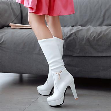 Kadın's Çizmeler Stiletto Topuk Yuvarlak Uçlu Taşlı PU Yarı-Diz Boyu Çizmeler Sonbahar Kış Siyah / Beyaz / Pembe