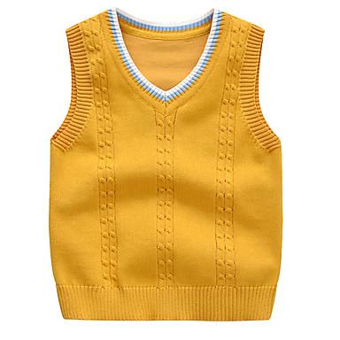 ราคาถูก เสื้อสเวสเตอร์และคาร์ดิแกนเด็กผู้ชาย-เด็ก Toddler เด็กผู้ชาย ซึ่งทำงานอยู่ พื้นฐาน สีพื้น ลายบล็อคสี เสื้อไม่มีแขน เสวตเตอร์และคาร์ดิแกน สีเหลือง