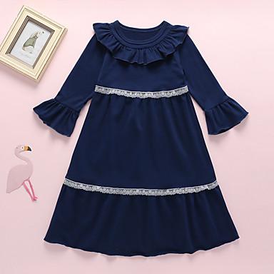 baratos Vestidos para Meninas-Infantil Bébé Para Meninas Básico Moda de Rua Floral Patchwork Manga Longa Médio Vestido Azul Marinha