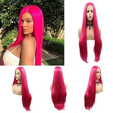 Синтетические кружевные передние парики Прямой / Матовое стекло Kardashian Стиль Стрижка каскад Лента спереди Парик Розовый Темно-красный Искусственные волосы 24 дюймовый Жен.