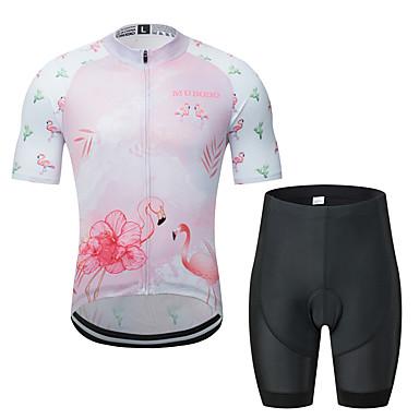MUBODO Flamingo Kaktüs Erkek Kısa Kollu Şortlu Bisiklet Forması - Pembe / Siyah Bisiklet Giysi Takımları Nefes Alabilir Nem Emici Hızlı Kuruma Spor Dalları Tül Dağ Bisikletçiliği Yol Bisikletçiliği