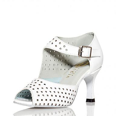Kadın's Dans Ayakkabıları PU Latin Dans Ayakkabıları Sided Hollow Out Topuklular Kıvrımlı Topuk Kişiselleştirilmiş Beyaz / Performans