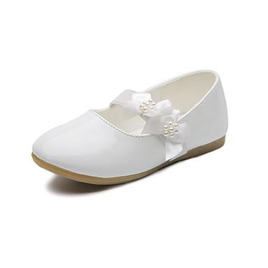 baratos Sapatos de Criança-Para Meninas Couro Ecológico Rasos Little Kids (4-7 anos) / Big Kids (7 anos +) Conforto / Sapatos para Daminhas de Honra Miçangas / Flor Preto / Branco / Rosa claro Primavera / Outono