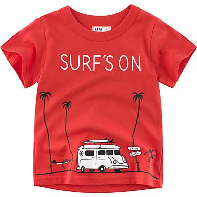 baratos Camisas para Meninos-Infantil Para Meninos Básico Geométrica Estampado Manga Curta Blusa Vermelho
