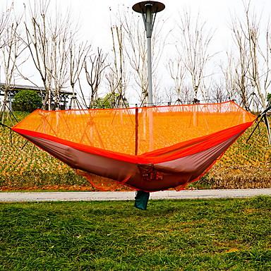 Cibinlikli Kamp Hamağı Açık hava Hızlı Kurulama Modellendirme Esnek ayarlanabilir Kenevir Halatı Naylon Karabina ve Ağaç Askıları için 2 kişi Turuncu 360*145 cm