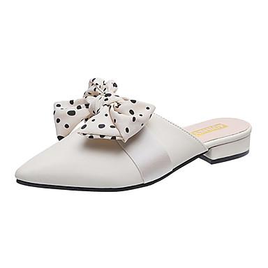Kadın's Terlikler ve Sandaletler Blok Topuk Fiyonk PU Günlük Yaz Siyah / Yeşil / Bej